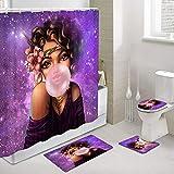 African Girl Duschvorhänge mit Vorleger Set, amerikanisches Afro Black Woman Gum Purple Galaxy Badezimmerzubehör, 4-teiliges Set – 1 Polyester Stoff Badevorhang, 1 Badematte, 1 Toilettenvorleger & 1 WC-Vorleger