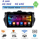 Dscam DSP Android Car Stereo 9' IPS Screen Car Radio GPS Navigation 8 Cores for Suzuki Alivio 2015-2020 Supports Car AutoPlay Full RCA Output 1080P DVR DAB AM/RDS HiFi/AUX