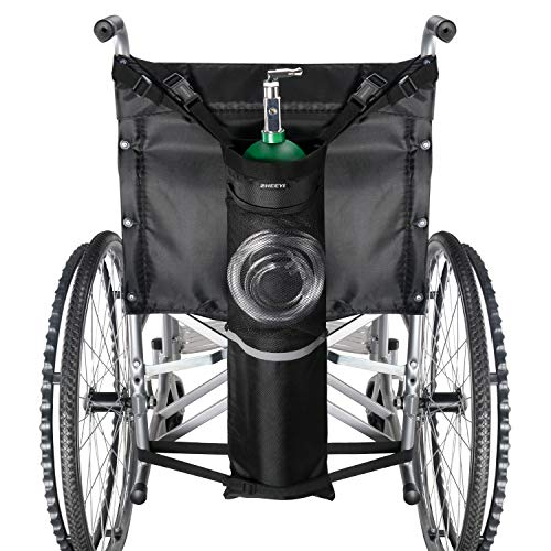 ZHEEYI Oxygen Cylinder Bag for Wheelchairs with Buckles, Fits Any Wheelchair, Black (Fits Most Oxygen cylinders)