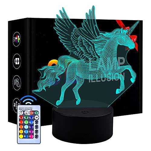 Cadeau d'anniversaire de garçons, Dimmable 3D LED Night Lamp Cadeau pour 4-10 Ans Enfants Filles Jouet lumière de Nuit de Dinosaure pour 4-10 Ans Cadeau de garçons pour Enfant