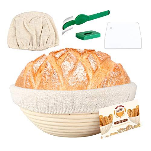 Round Banneton Proofing Basket, Cloth Liner, Dough Scraper