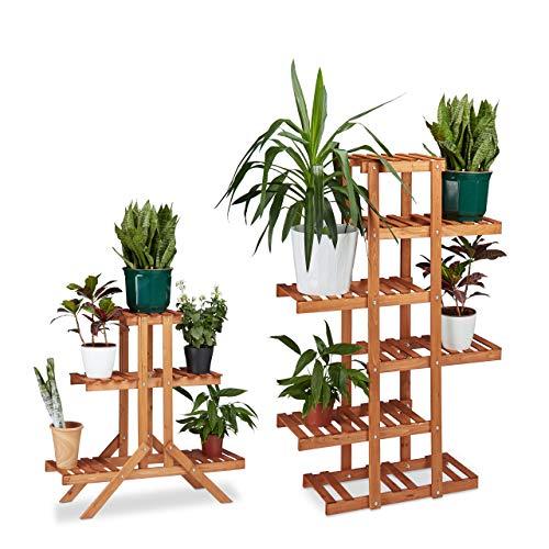 Relaxdays 2X Pflanzentreppe im Set, Blumentreppe, Blumenregal, Pflanzenregal, Etagere, Blumenständer, Mehrstöckig, 5 Böden, Holz