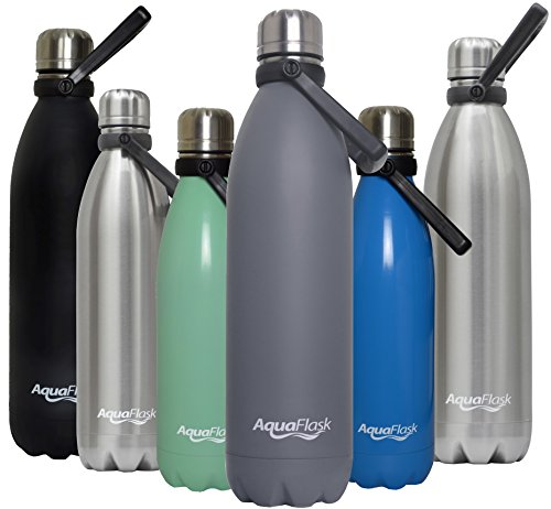 AquaFlask Insulated Double Wall Stainless Steel Water Bottle with Handle (Matte Grey, 27-Ounce)