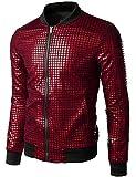 JOGAL Men's Metallic Sequins Baseball Bomber Jacket 70s Disco Party Costume (Red, Large)