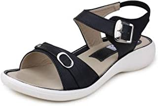 Women's Officewear Leather Fashion Sandal with Front Belt Black Color (Size 9)