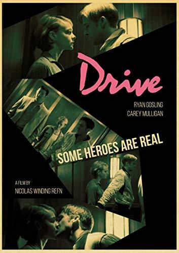Aishangjia Ryan Gosling Classic Movie Drive Poster Vintage Wall Poster Home Room Estudio Decoración de la Pared Lienzo Cuadro de Pared Pintura 40x50 cm J-1543