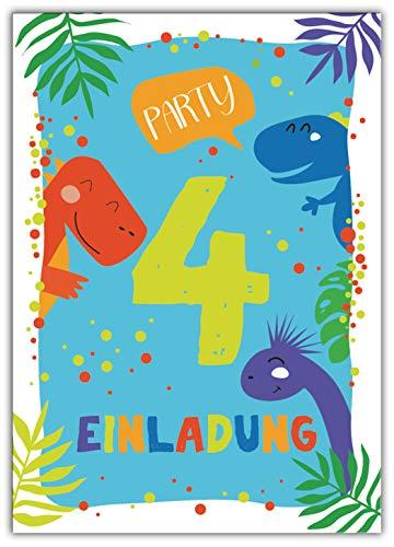 Junaversum 12 Einladungskarten zum 4. Kindergeburtstag Jungen Dinosaurier Einladungen vierte Geburtstag