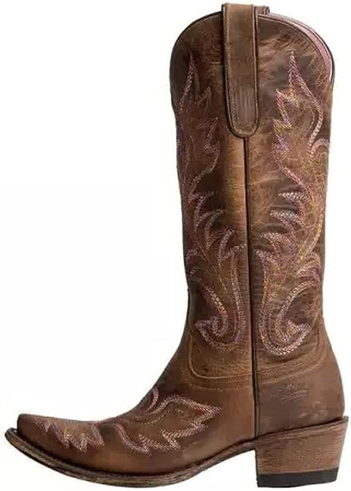 Edgchic Women Chunky Max 80% OFF Heel Cowboy Bo Boots Buckle Western Long-awaited Cowgirl