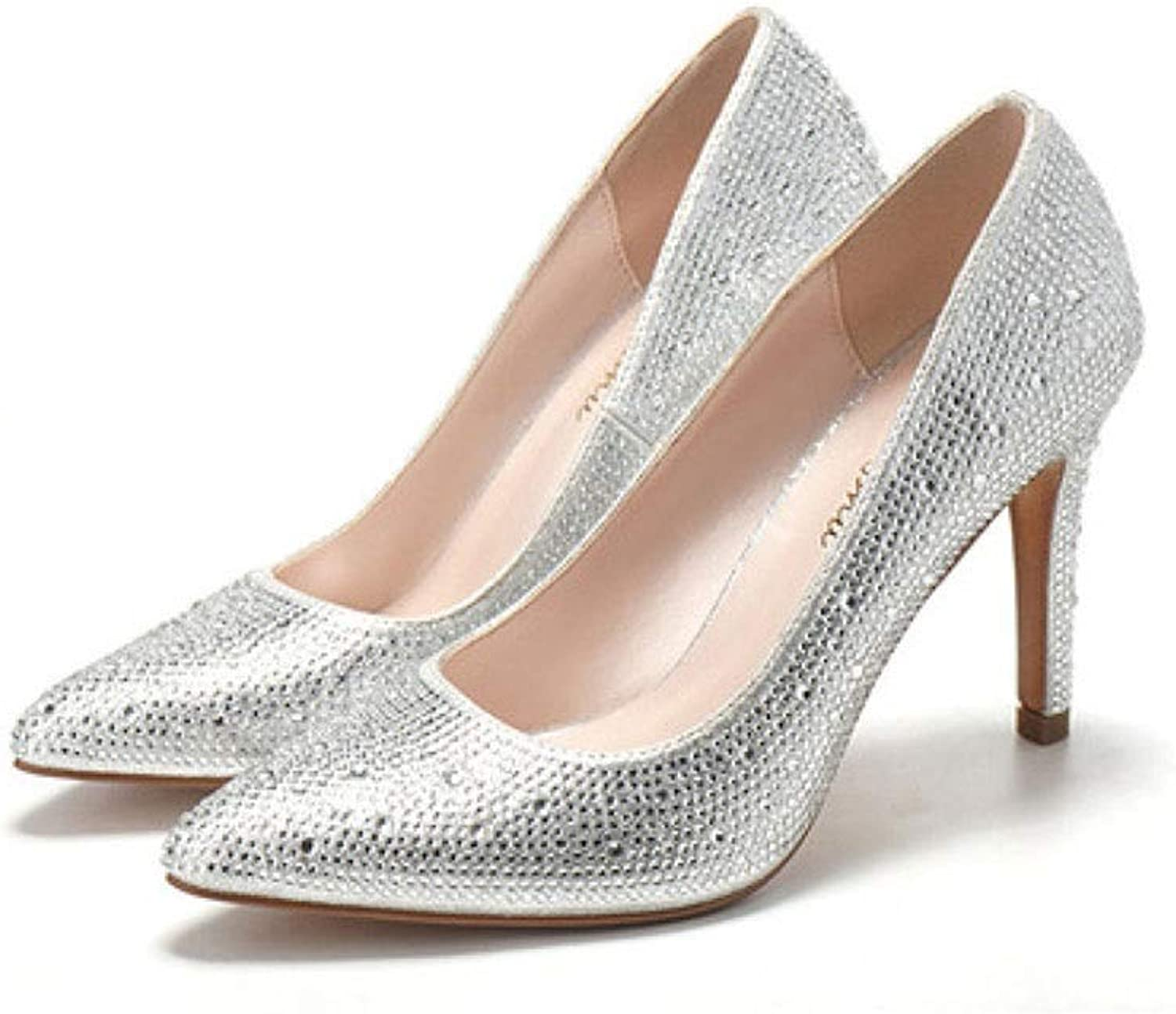 CBDGD High-Heeled Ladies Flash Drill shoes Wedding shoes Spring and Summer 9CM 4 colors High Heels (color   Champagne, Size   EU35 UK3 CN34)
