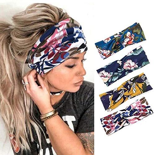 Edary Fashion Stirnbänder Elastic Yoga Haarbänder Sport Haarbänder Running Head Wraps Sport Baumwolle Haarschmuck für Frauen und Mädchen (4er Pack)