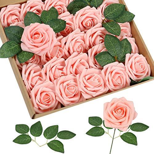 Homcomodar Rosa Künstliche Rose 30Pc Künstliche Blume Gefälschte Rosen für Die Hochzeit(Rosa)