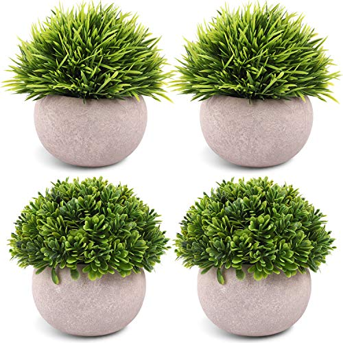 CEWOR 4 Packs Artificial Mini Potted Plants Plastic Faux Topiary Shrubs Fake Plants for Bathroom Home Office Desk Decorations