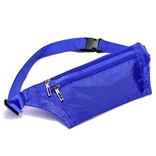 TOOGOO(R) Unisexe Bum Sac de Taille Handy Sport Voyage Fanny Argent Wallet Pack Ceinture Zip Pouch - Pure Bleu