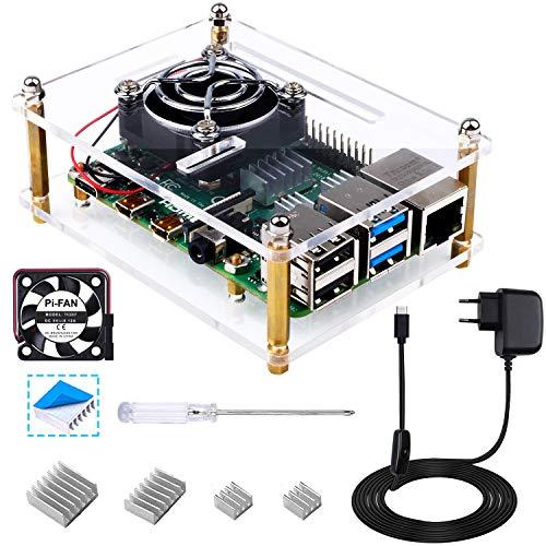 Bruphny Case per Raspberry Pi 4, Custodia con Ventola di Raffreddamento, 5V 3A USB-C Alimentatore e 4 Dissipatore per Raspberry Pi 4 Modello B/3B+/3B/2B (Non Includere Scheda Raspberry Pi)