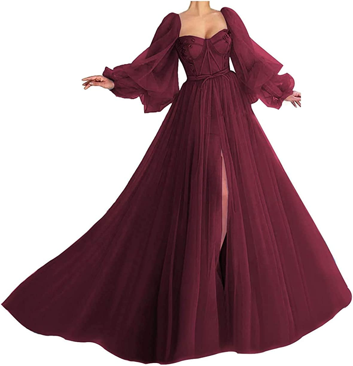 Puffy Sleeve Prom Dress for Women Long Sweetheart Tulle Ball Gowns with Split
