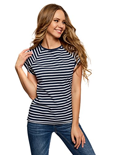 oodji Ultra Mujer Camiseta de Algodón Básica