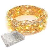 Gspose Guirnalda de luces LED (10 m, funciona con pilas, alambre de cobre,...