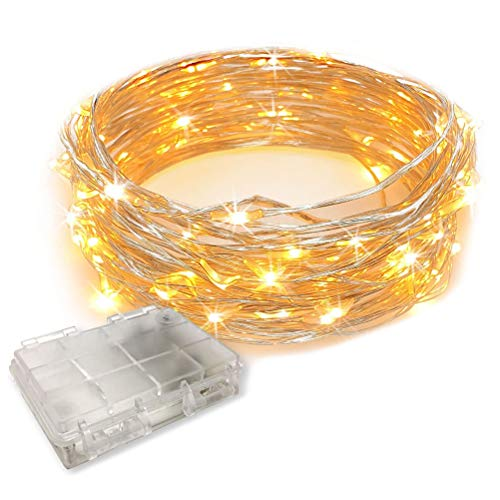 Sttoce Led String Lights, 100 LEDs Decorative Fairy Battery Powered String Lights, Waterproof Copper Wire Light for Bedroom,Wedding(33ft/10m Warm White)