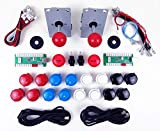 Digitalkey Set 2 Arcade Pro Players para Mame Cabin - Controlador USB Joystick 16 Botones de 30 mm + 2 LED y Cables Brillantes de 5V (Kit Rojo)