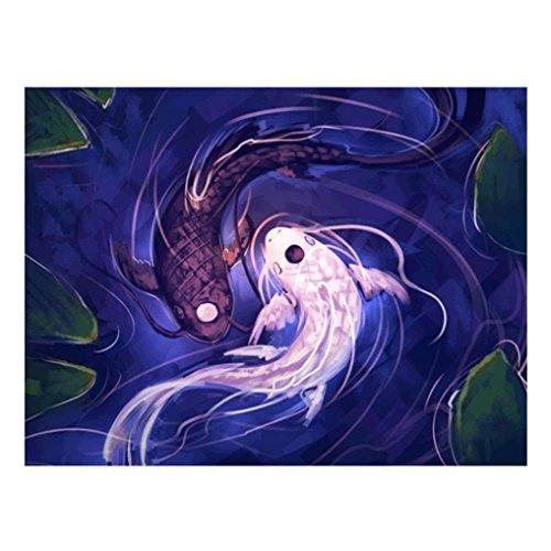 Riou DIY 5D Diamant Painting voll,Stickerei Malerei Crystal Strass Stickerei Bilder Kunst Handwerk für Home Wand Decor gemälde Kreuzstich Blauer weißer Fisch Bilde Muster (Mehrfarbig, 30 * 40cm)