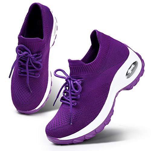 HKR Women's Lightweight Sports Tennis Shoes Comfortable Platform Walking Gym Sneakers All Purple...
