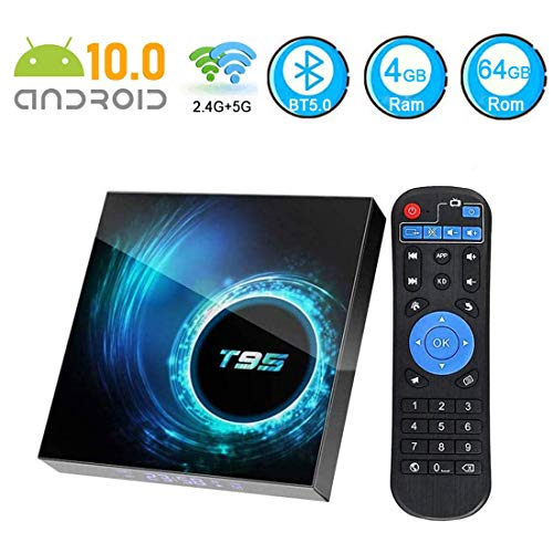 Android 10.0 TV Box 4GB Ram 64GB ROM,EASYTONE TV Box Android Media Player Quad-Core CPU Support Dual-WiFi 2.4G/5GHz BT 5.0 USB 6K Ultra HD H.265 Ethernet Smart TV Box