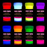 Premium Glow in The Dark Acrylic Paint Set by neon nights – Set of 8 Professional Grade Neon Craft...