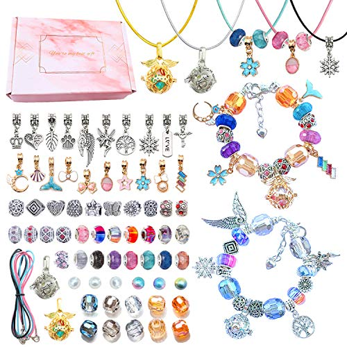 iCARNIVAL DIY Charm Bracelet Making Kit, with Pearl Cage Pendant Jewelry Making Supplies Bead Snake Chain Gift Set for Girls Teens