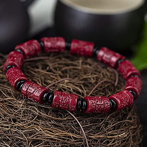 Pulsera Feng Shui Bead Feng shui riqueza prosperidad pulsera natural cinabrio bambú conjunta tallado seis caracteres mantra abalorios brazalete brazalete amuleto atrae a la riqueza alejado de los espí
