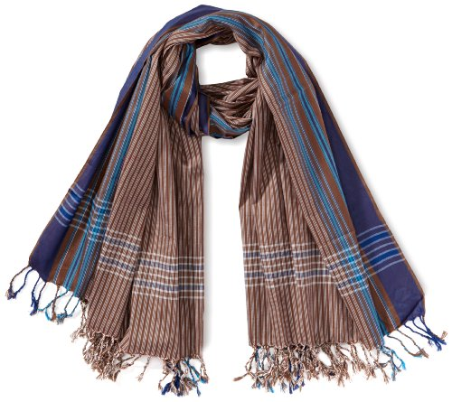 Kikoyland - Echarpe - Mixte - Marron (Brown/Blue) - One Size (Taille fabricant: one size (OS)