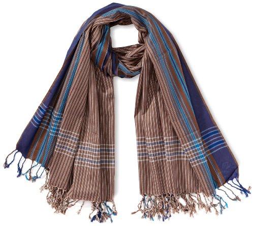 Kikoyland - Echarpe - Mixte - Marron (Brown/Blue) - One Size (Taille fabricant: one size (OS)