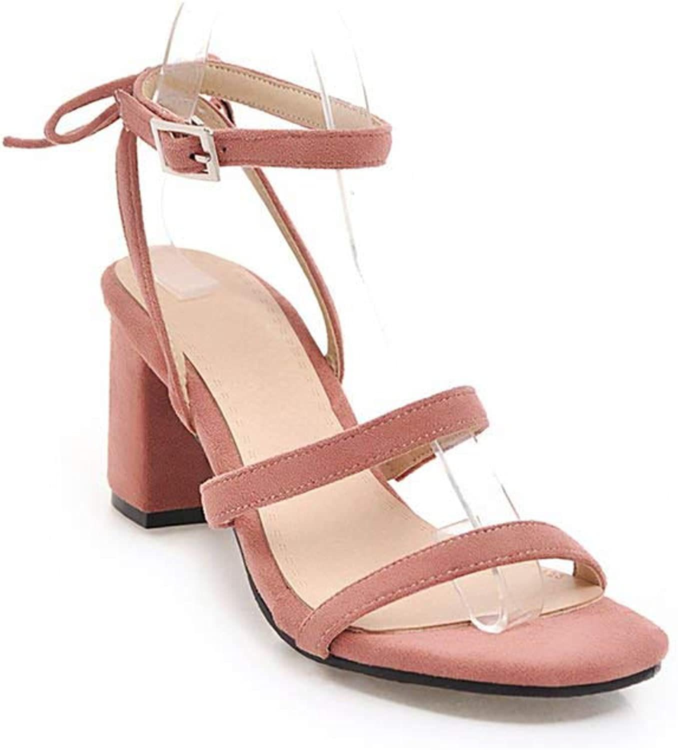 Lewis Pitman Women Sandals Woman Buckle Thick High Heels Flock Women shoes Large Size