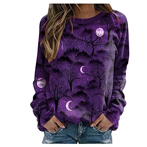 Tops für Frauen,Damen T-Shirts,Frauen Halloween Print Shirt Langarm Sweatshirt Lose Pullover Top Bluse Tee,Blusen für Frauen