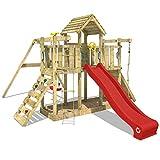 WICKEY Spielturm Klettergerüst Smart Twister mit Schaukel & roter Rutsche, Spielhaus mit...