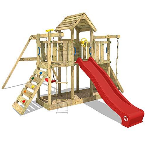 WICKEY Spielturm Klettergerüst Smart Twister mit Schaukel & roter Rutsche, Spielhaus mit Sandkasten, Kletterleiter & viel Spiel-Zubehör