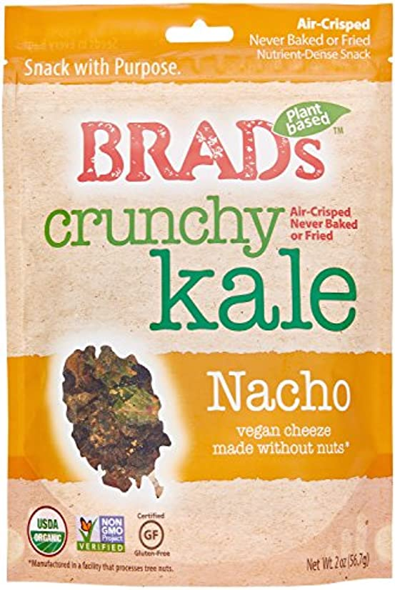 Brad's Plant Based, USDA Organic, Gluten Free, Crunchy Kale Chips, Nacho, 2 Ounce (4 Count) (Packaging may vary)