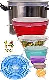 Couvercle Silicone Alimentaire,longzon®[14pcs] eco Couvercle Silicone Extensible, Film etirable Alimentaire reutilisable,Universel pour Micro Ondes Four, saladier, rangement frigo, LFGB, FDA,sans BPA