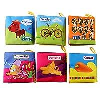Aibecy 6パックソフトベビークロスブック無毒クリンクルブックガラガラ音の幼児と幼児の摩擦子供男の子女の子ユニセックスのための早期学習教育玩具ギフト