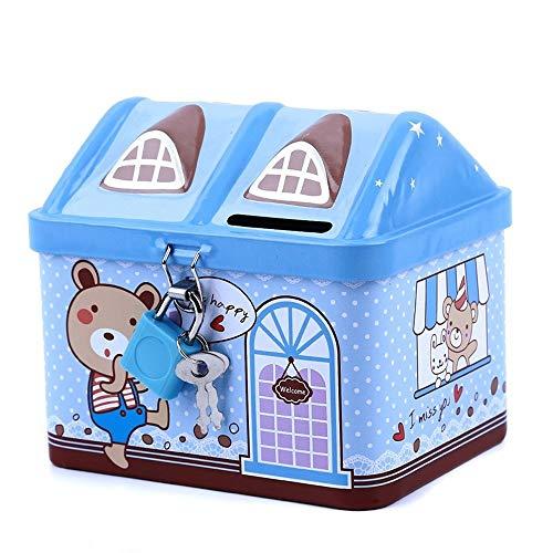 Preisvergleich Produktbild LF stores Sparbüchsen Metall-Haus-Form Piggy Bank Münze Safe Storage Box Kind Piggy Banks Key Lock-Geld-Kasten Spardosen (Color : Blue)