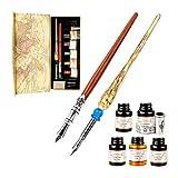 GCQUILL Vintage Penna d'Oca Set Scrittura Calligrafica con Penna Piuma Stilografica Inchiostro Portapenne 5 Punte di Penna da Ricambio