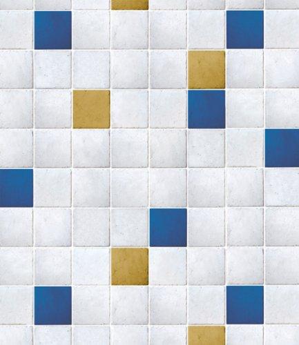 『Magicfix はがせる壁紙 シール式 50cm幅x1メートル単位 (DPS-51 オーダリータイル(ブルー))』の1枚目の画像