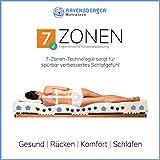 Ravensberger Matratzen Latex Oeko TEX 100 7-Zonen-Komfort | H2 RG 60 (45-80 kg) | Made IN Germany - 10 Jahre Garantie | Baumwoll-Doppeltuch-Bezug | 90 x 200 cm - 4