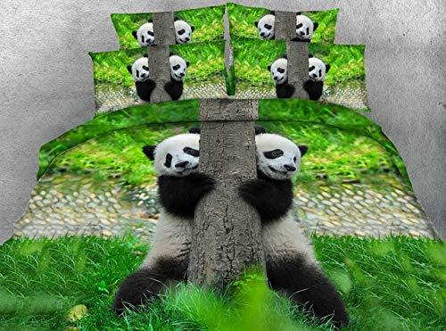 LifeisPerfect JF-076 Adorable Oso Panda Chino Imprimir Conjuntos de Ropa de Cama King Size 3D Manta Colcha Cama Queen Set