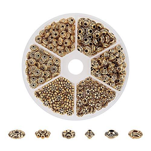 PandaHall 1Box Über 300pcs Antique Golden Tibetischen Stil Spacer Perlen Schmuckzubehör Zubehör für Armband Halskette Schmuckherstellung (5.5~6.5x2~7.5mm, Bohrung: 1~2mm)
