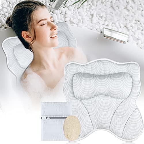 GINMIC Badewannenkissen, 5D Air Mesh Luxus Badekissen für Badewanne für Kopf-, Nacken-und Schulterstütze mit 7 rutschfesten Saugnäpfen,Spa-Kissen für Frauen und Männer passend für alle Badewannen
