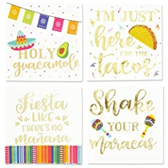 """FIESTA PARTY SUPPLIES : Features 4 assorted designs with gold foil lettering: """"Holy guacamole"""", """"I'm just here for the tacos"""", """"Fiesta like there's no manana"""", and """"Shake your maracas""""; ideal to compliment your Mexican birthday party decorations and ..."""