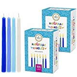 Hanukkah Candles Premium Pastel Blue & White Deluxe Tapered Hand Decorated Candles (2-Pack)