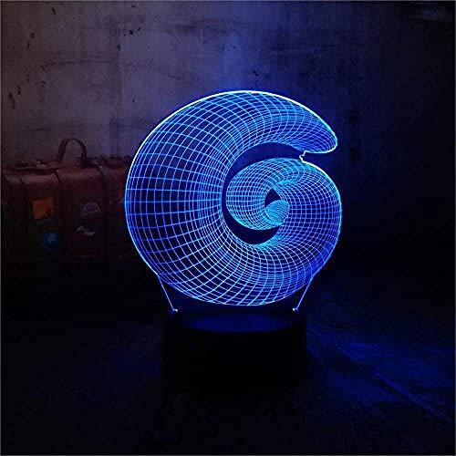 3D LED Navidad regalo lámpara de mesa caracol visión noche luz 7 cambio de color USB táctil juguetes niños sueño dormitorio decoración