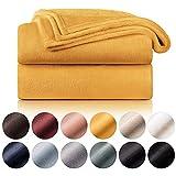 Blumtal Mantas para Sofá de Franela Suave y Acolchada - Manta Polar 100% Microfibra Extra Suave, Manta de sofá, de Cama o de Sala de Estar, Amarillo Mostaza, 130 x 150 cm