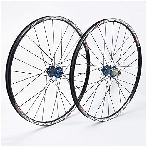 HUAQINEI Ruedas de Bicicleta de montaña de 26 Pulgadas, aleación de Aluminio de Doble Pared, Freno de Disco de liberación rápida, Ruedas híbridas MTB, 24 Orificios, 7/8/9/10 de Velocidad